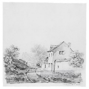 Cooper Art - Village Landscape farm Thomas Sidney Cooper black and white